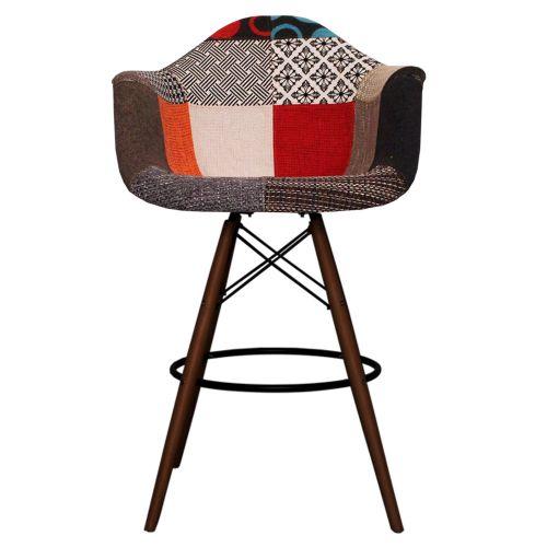 Charles Ray Eames Style Fabric DAB Walnut Bar Stool