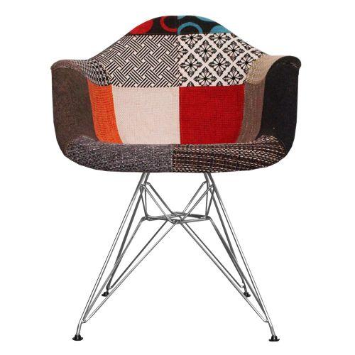 Charles Ray Eames Style Fabric DAR Arm Chair Chrome Legs