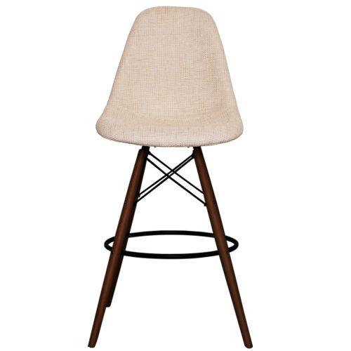 Charles Ray Eames Style Fabric DSB Walnut Bar Stool