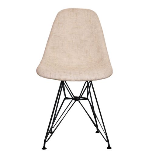 Charles Ray Eames Style Fabric DSR Side Chair Black Legs