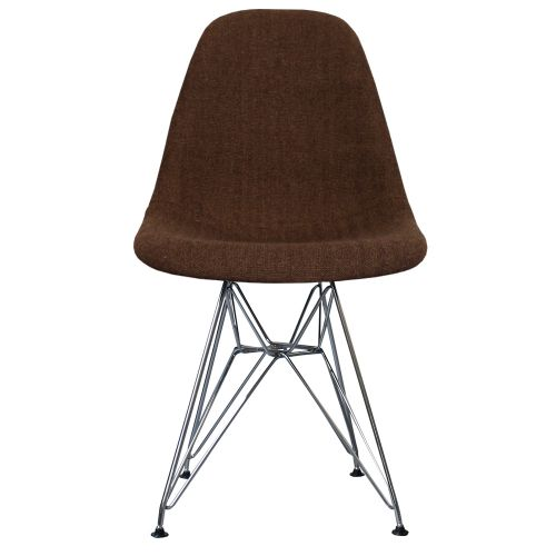 Charles Ray Eames Style Fabric DSR Side Chair Chrome legs