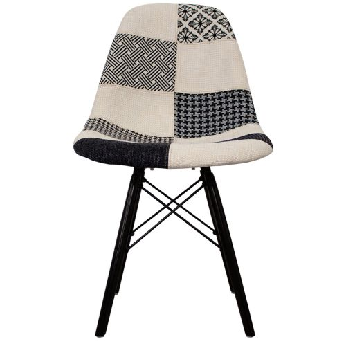 Charles Ray Eames Style Fabric DSW Side Chair Black Legs