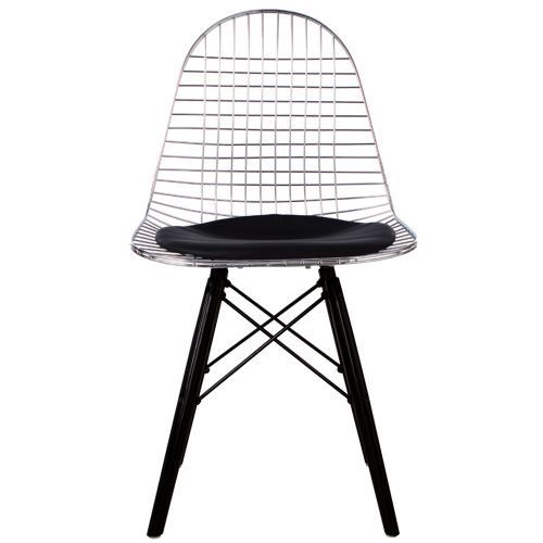 Charles Ray Eames Inspired DKW Side Chair Black Legs