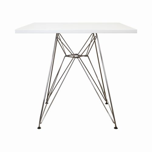 Charles Ray Eames White Eiffel Square Table 90cm
