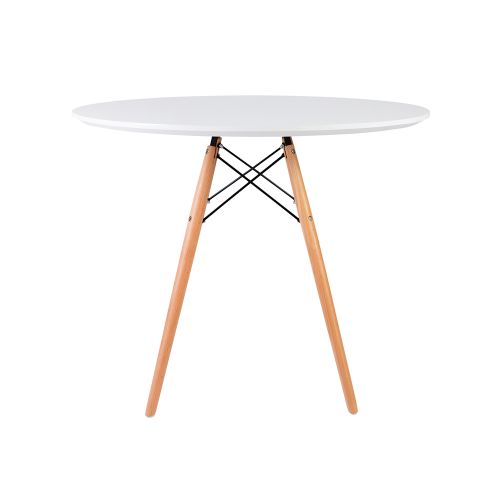 Charles & Ray Eames Style 90cm White Round Dining Table