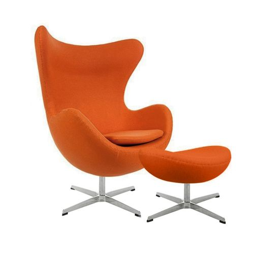 Arne Jacobsen Style Wool Egg Chair with Ottoman