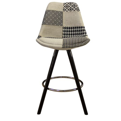 Charles Ray Eames Inspired I-DSB Fabric Bar Stool Black Legs