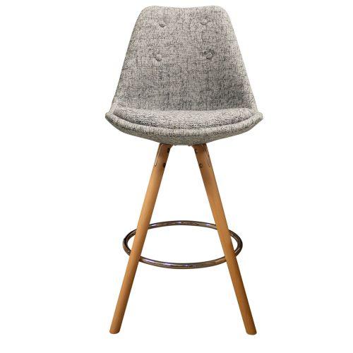 Charles Ray Eames Inspired I-DSB Fabric Bar Stool Natural Legs