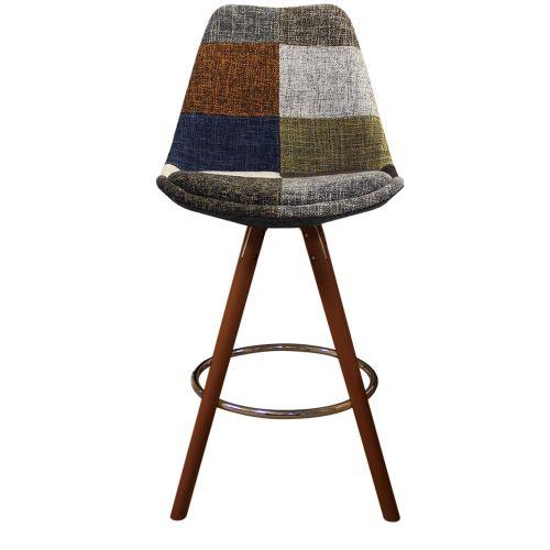 Charles Ray Eames Inspired I-DSB Fabric Bar Stool Walnut Legs