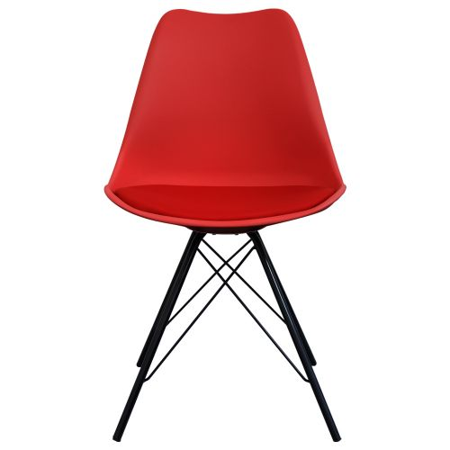 Charles Ray Eames Inspired I-DSR Side Chair Black Metal Legs