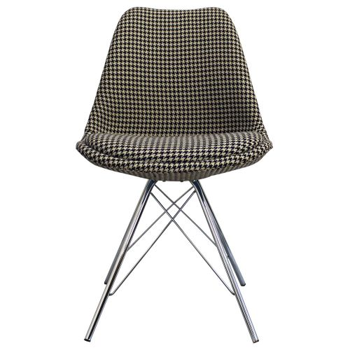 Charles Ray Eames Inspired I-DSR Fabric Side Chair Chrome Legs