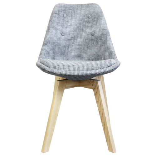 Charles Ray Eames Inspired I-DSW Fabric Side Chair Natural Squared Legs