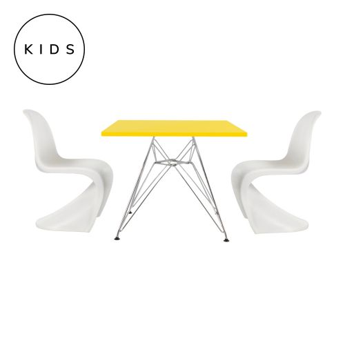 Childrens Set 2 Panton Style Chairs White & Charles Ray Eames Style DSR Style Table