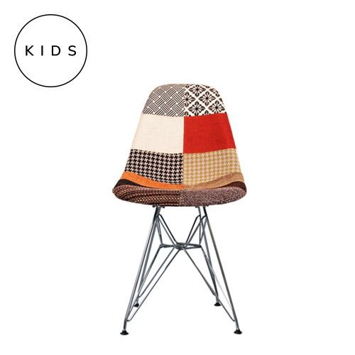 Childrens Charles Ray Eames Style DSR Patchwork Fabric Side Chair