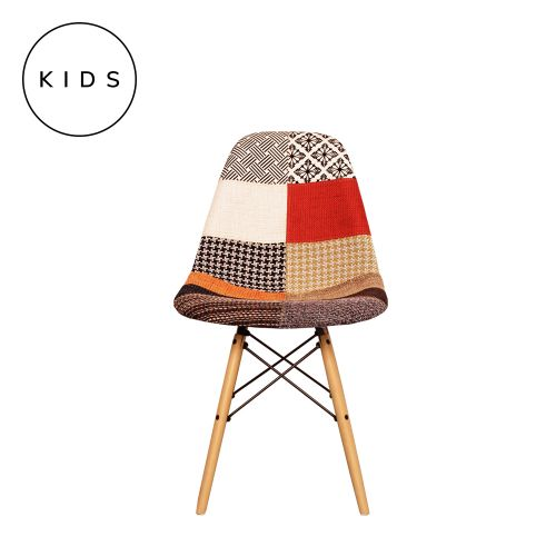Childrens Charles Ray Eames Style DSW Patchwork Fabric Side Chair