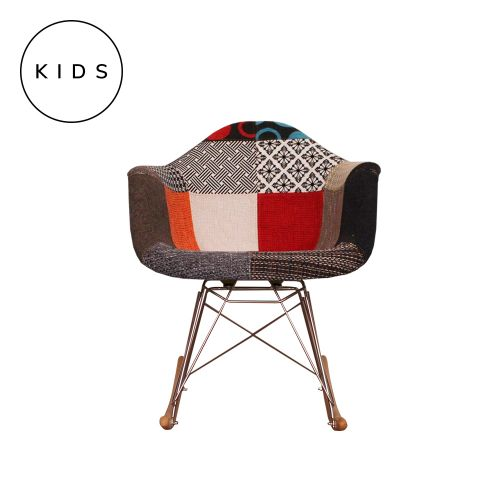 Childrens Charles Ray Eames Style RAR Patchwork Fabric Rocking Chair