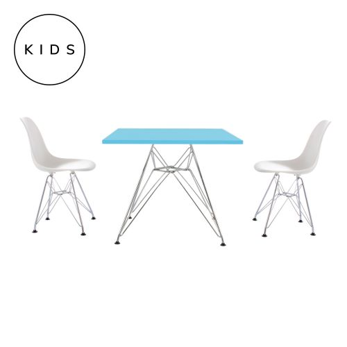 Childrens Set Charles Ray Eames 2 DSR Style Chairs White & DSR Style Table