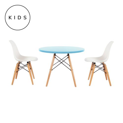 Childrens Set Charles Ray Eames 2 DSW Style Chairs White & DSW Style Table