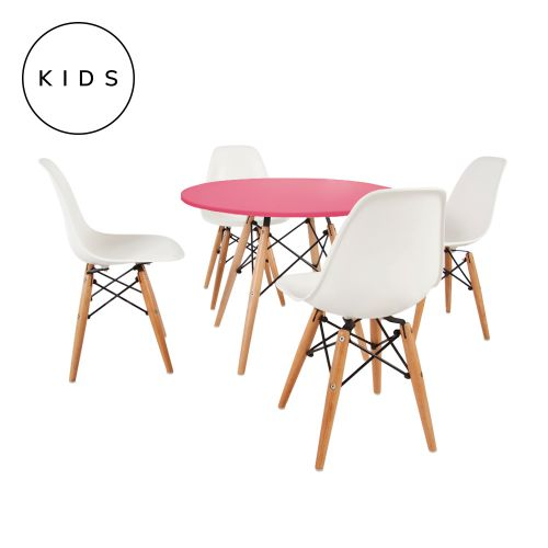 Childrens Set Charles Ray Eames 4 DSW Style Chairs White & DSW Style Table