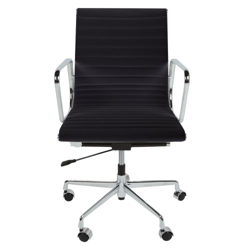 Eames Style EA117 Low Back Ribbed Leather Office Chair