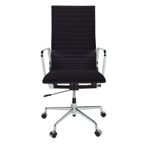 Eames Style EA119 High Back Ribbed Leather Office Chair