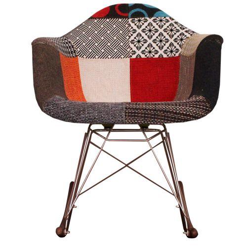 Charles Ray Eames Style Walnut RAR Fabric Rocking Chair