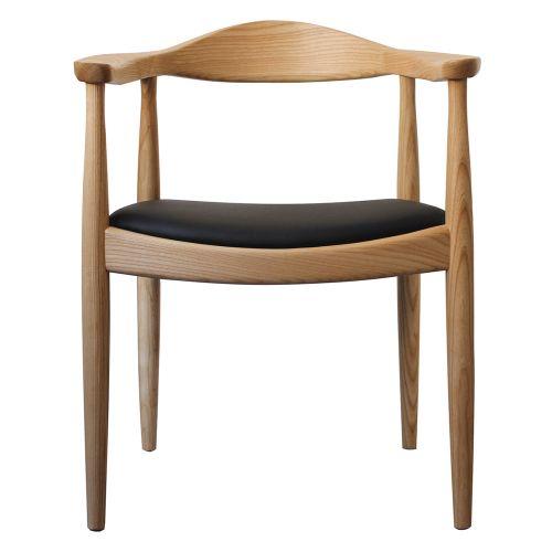 Hans J Wegner style The Chair - Natural / Black Cushion