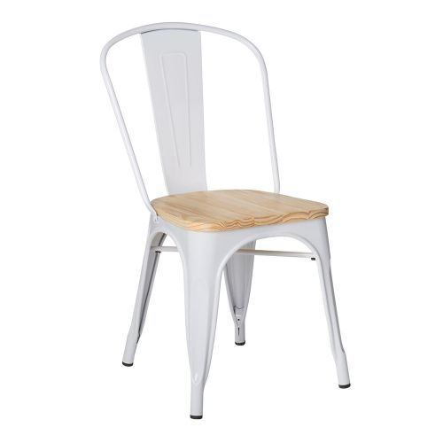 Xavier Pauchard Tolix Style Chair Natural Wooden Top
