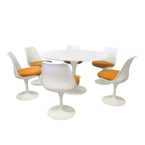 Tulip Style Set - White Table Top 120cm / 6 Chairs