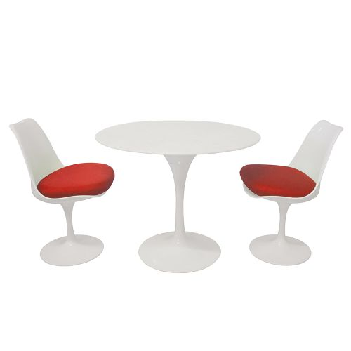 Tulip Style Set - Marble Table Top 90cm / 2 Chairs