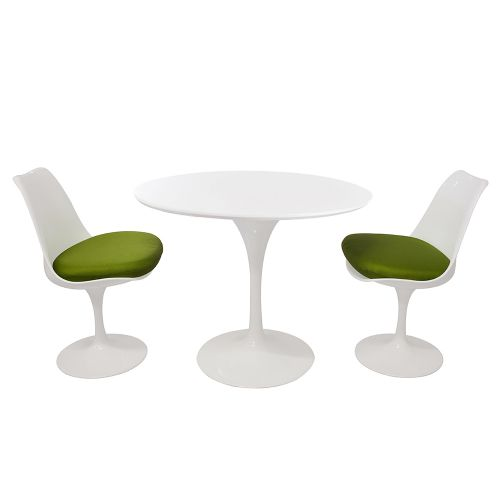 Tulip Style Set - White Table Top 90cm / 2 Chairs