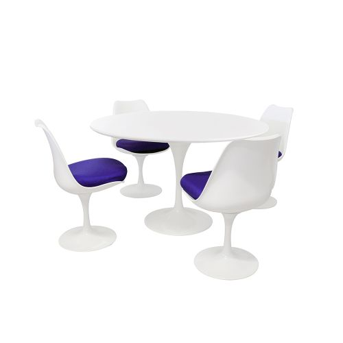 Tulip Style Set - White Table Top 90cm / 4 Chairs
