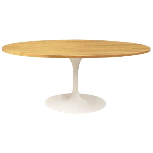 Tulip Style Table, Top Oval Table 199cm - Oak
