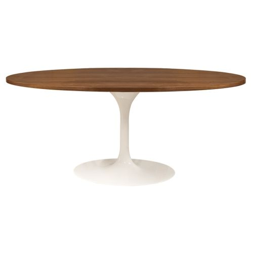 Tulip Style Table, Top Oval Table 199cm - Walnut
