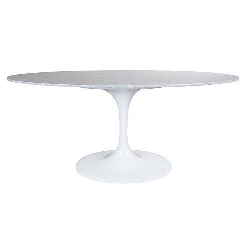 Tulip Style Table, Top Oval Table 199cm - Marble