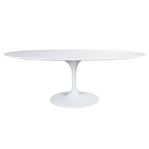 Tulip Style Table, Top Oval Table 199cm - White