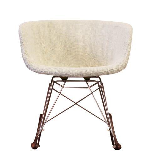 Vogue Fabric RAR Rocking Chair Walnut