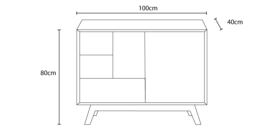 CAD Image of a Butterfly sideboard showing a outline image of the sideboard with the dimensions along side the image.