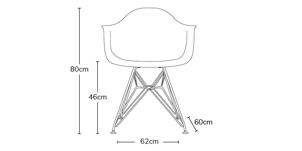 charles ray eames style dar arm chair chrome legs