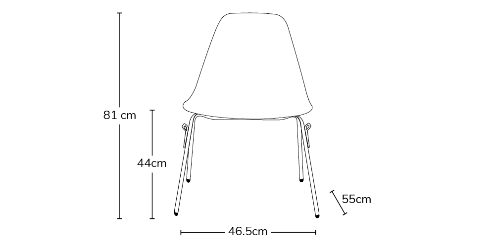 Outline image of a DSS side chair with the dimensions: Height 81, Seat Height 44, Width 46.5 Depth 55