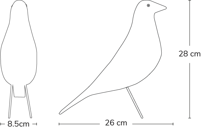 outline drawing of Eames bird showing dimensions D 26cm H 28cm W 85cm