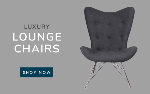 Luxury Lounge Chairs banner with a mustard padded lounge chair