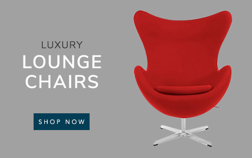 Luxury Lounge Chairs banner with an egg chair
