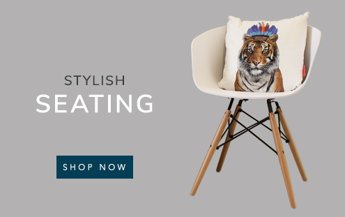 Stylish seating banner showing a vogue chair with a tiger cushion